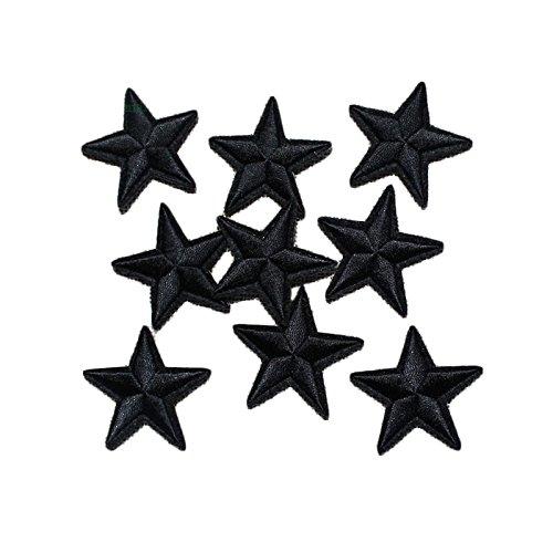 Yalulu 20 Stück Schwarz Star Patches Aufnäher Aufbügler Applikation zum aufbügeln Bügelbild Sticker Aufnäher DIY Kleidung Jeans Taschen Patch