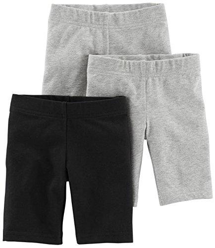 Simple Joys by Carter's - Pantalones cortos para bicicleta (3 unidades) ,Negro, gris ,24 meses