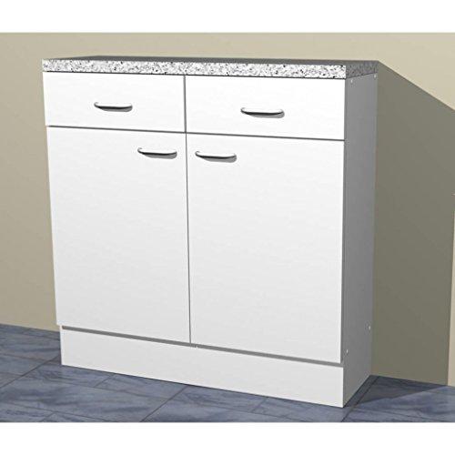 Küchen Unterschrank in verschiedenen breiten Start Melamin weiß/weiß (80cm breit)