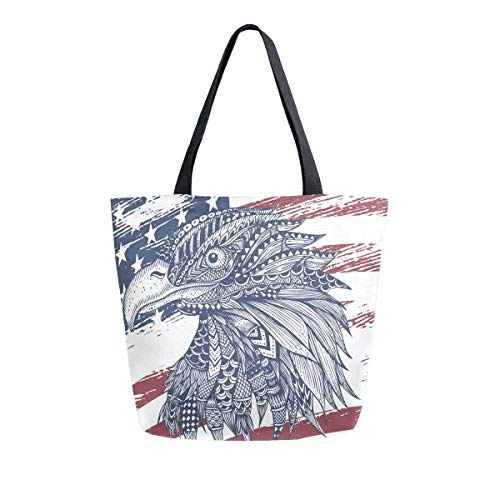RURUTONG American Eagle Bolsa de lona a granel para comestibles, bolsa de playa de hombro grande, reutilizable, bolso multiusos resistente, compras al aire libre 2010090