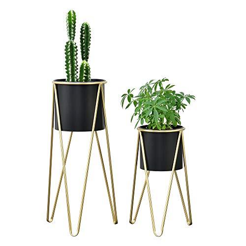 [en.casa] Pflanzständer im 2er Set Blumenständer aus Metall Blumentopf Ständer mit Übertopf Blumentopfhalter 2-TLG. Pflanztopf Deko Schwarz-Gold