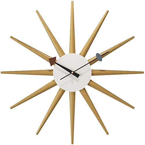 FOOSKOO Wall Clocks Bois Horloges Murales Polygone Motif Géométrique Simple Horloge À Quartz Mur Tenture Table Multilatéral Muet 50 CM pour Bureau À Domicile Salon Chambre Décoration