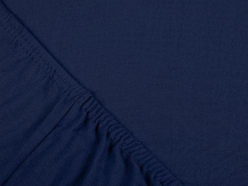 npluseins klassisches Jersey Spannbetttuch – erhältlich in 34 modernen Farben und 6 verschiedenen Größen – 100% Baumwolle, 70 x 140 cm, navyblau - 4