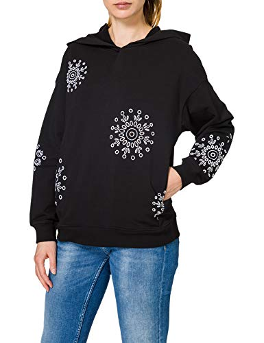 Desigual Womens Hoodie NO Zip Swiss EMBOI Sweatshirt, Black, M