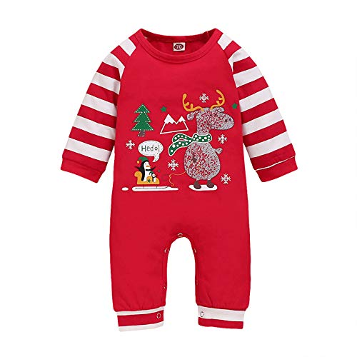 Cartoon Reindeer Elf Penquins Christmas Baby Romper, 0-18 Months Newborn Infant Kids Christmas Jumpsuit Toddler Boys Girls Long Sleeve Xmas Red Bodysuit for Kids- My First Christmas Outfits Clothes