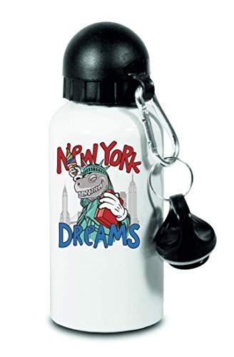 Drucklebnis24 Botella – New York Dreams Dinosaurier – para niños, escuela, deporte, fitness – Botella de agua fina de aluminio