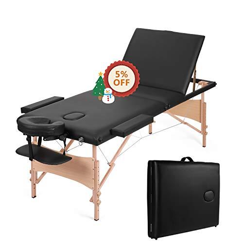 MaxKare Portable Massage Table Adjustable Lash Bed Three-Fold Massage Bed 84''...