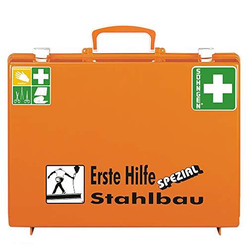 SÖHNGEN 0360118 Erste-Hilfe-Koffer Spezial Stahlbau, Verbandskoffer mit Wandhalterung, orange, ASR A4.3/DIN 13157 aus Kunststoff, mit PRÜFPLAKETTE