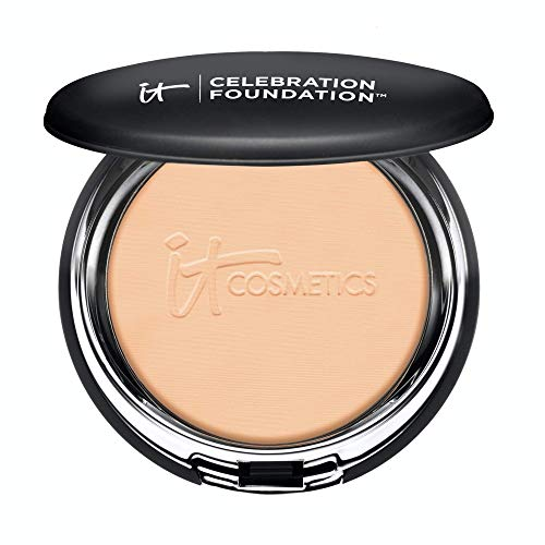 IT Cosmetics Celebration Foundation, Medium (W) - Full-Coverage, Anti-Aging Powder Foundation - Blurs Pores, Wrinkles & Imperfections - With Hydrolyzed Collagen & Hyaluronic Acid - 0.3 oz Compact