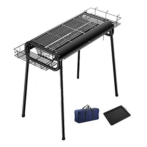 xinxinchaoshi Tragbare Reiseklapper hoher Barbecue BBQ-Kohlegrill mit unabhängigen Holzkohle-Tank und Gewürzkorb für Camping, Picknick, Outdoor, Schwarz - 28.7