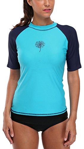 Attraco Damen Rash Guard UV Shirts Kurzarm Surf Shirt Lycra Shirt Oberteil UV Shutz 50+ Blau L,40