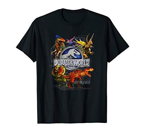 Jurassic World Dinosaur and Hybrid Collage T-Shirt