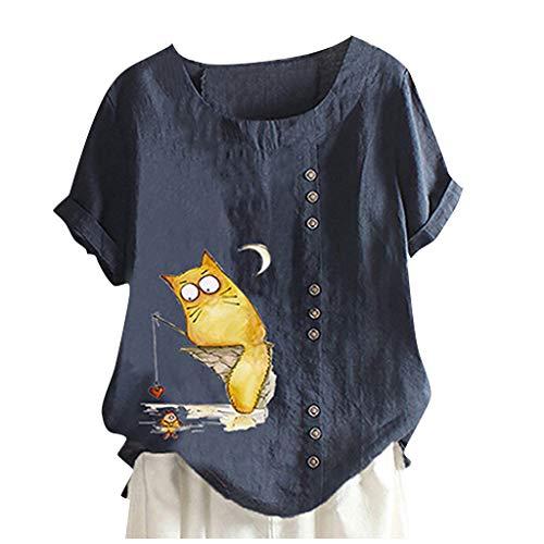 WGNNAA Lose Tunika Damen Hemd Leinenbluse Oberteil Casual T-Shirt Baumwoll Rundkragen Übergröße Einfarbig/Katze Druck Leinen Tunika mit Knopfen