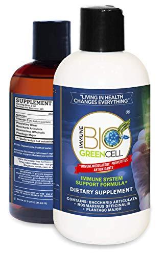 Immune Bio Green Cell Natural, Organic Herbal, Immune System Support Supplement*: Vitamin C, Rosmarinus Officinalis (Rosemary), Baccharis Articulata (Carqueja), Plantago Major – 2X 8oz Bottles-- (2ml)