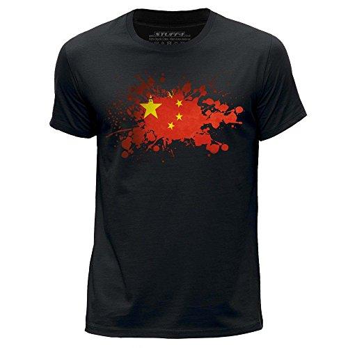 Stuff4 Heren T-Shirt/China/Chinese Vlag Splat/Ronde hals Casual Korte mouw 100% Organisch Katoen