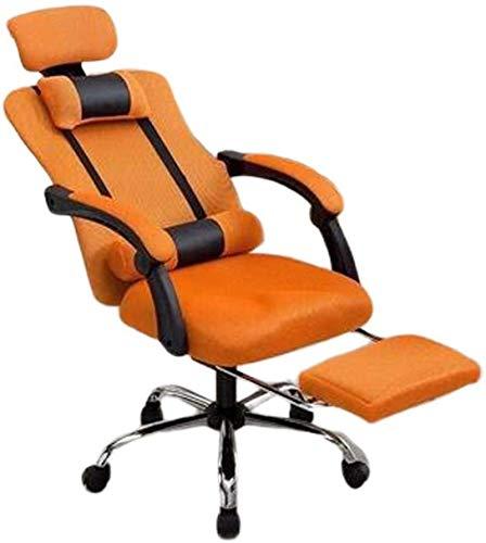 HongLianRiven Sedia da Gioco Sedia per Computer Sedia da Gioco in PU con poggiatesta e poggiapiedi e Cuscino Lombare, Angolo reclinabile da 150 Gradi Games Sedia (Color : Orange)
