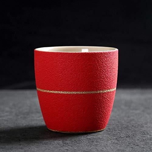 xingfuankang 1 Unids 100Ml Taza De Mano Personal De Cerámica Personalidad De La Oficina Taza De Beber Simple Taza De Té Taza Creativa-Rojo