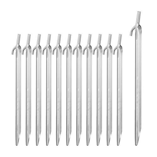 Relaxdays 12er Set Zeltheringe, Sandheringe für Harte Böden, verzinkter Stahl, mit Haken & Schlagkopf, 30cm lang, Silber