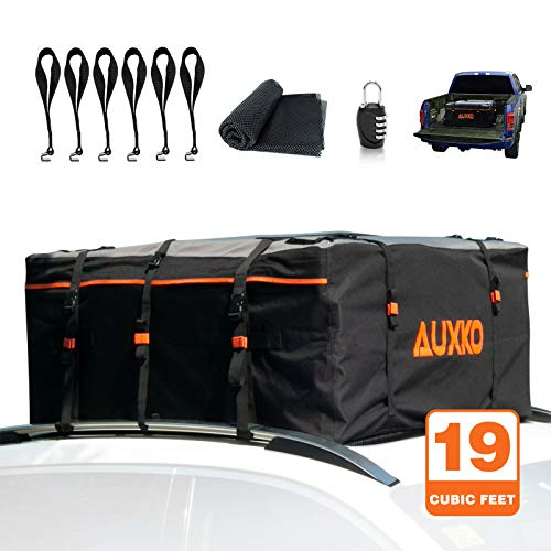 Auxko Rooftop Cargo Bag, 100% Waterproof 19cft Truck Pickup Cargo Carrier, with PVC Coating Roof Top Bag Fits All Vehicle with/Without Rack (Includes 6 Bungee Hooks/6 Door Hooks/Anti-Slip Mat/Lock)