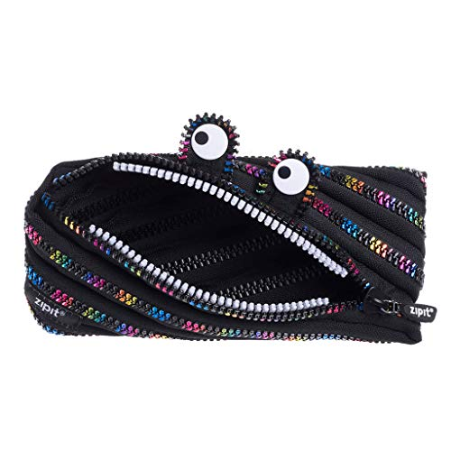 ZIPIT Monster Pencil Case for Kids, Large Capacity Cute Pencil Pouch, Holds Up to 30 Pens, Made of One Long Zipper (Black & Rainbow)