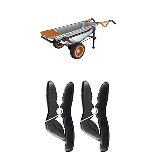 WORX Aerocart 8-in-1 Wheelbarrow / Yard Cart / Dolly + Universal wheelbarrow tool holders