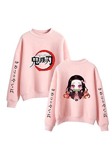 Anime Demon Slayer Crewneck Sweatshirt Cute Nezuko Graphic Pullover Men Women Teens Fashion Cartoon Sweater Jumper Top (3,S)