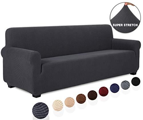 TIANSHU Sofabezug 4 sitzer, Stretch Spandex Couchbezug Sesselbezug Elastischer Antirutsch Stretchhusse Weich Stoff,Jacquard-Stretch-Sofabezug, Schonbezug für Sofa-Sofahalter(4 sitzer,Grau)