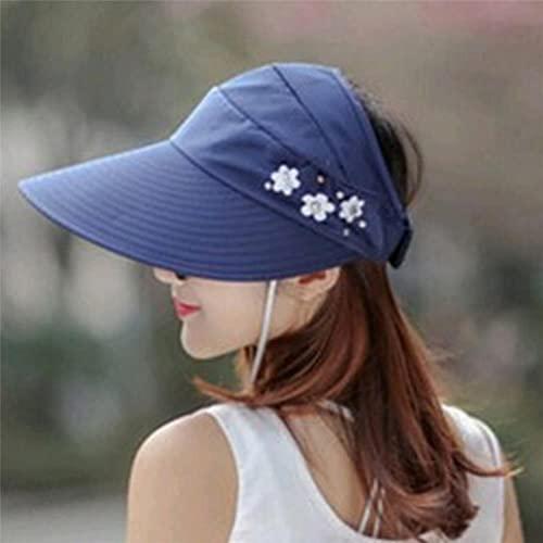 UKKO Sombrero Mujeres Verano Al Aire Libre Montar A Caballo Anti-URO Sol Sombrero Playa Plegable Plegable Protección Sol Flores Tapas Cuello Cara Ancha Sombrero