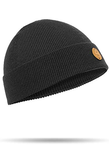 Hanse-Troyer 100% Merino Wool fine Knitted Classic Beanie - Made in Germany - no Smell, no Scratch (Anthracite)
