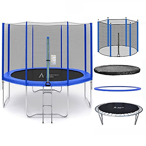 ULTRAPOWER SPORTS Trampoline, 8ft - 6 poles Spec Trampoline with Safety Enclosure, Net, Ladder and...