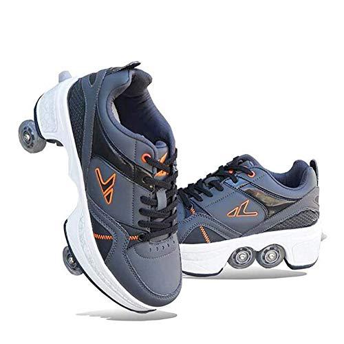 Wedsf Skate Verstelbare quadrolschaatsen, 2-in-1, multifunctionele schoenen, vervorming, schoenen, wandelschoenen, skateboarden, skateboarden, skateboarden, maat 31