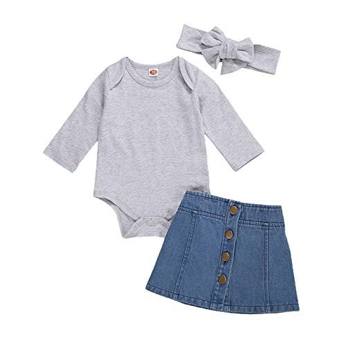 2021 nueva primavera y otoño ropa de los niños 0-24M otoño bebé niñas conjuntos 3pcs sólido largo y corto manga mameluco Tops Denim A-Line Faldas diadema moda y cómodo niños y niñas