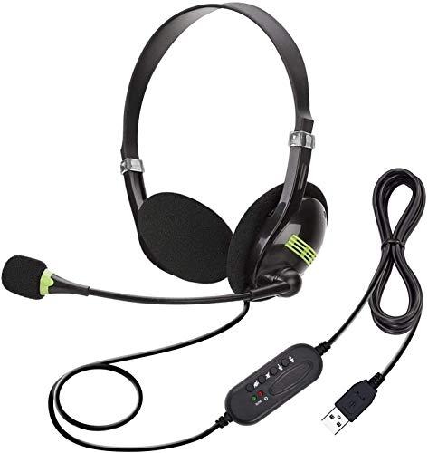 Auriculares de Ordenador USB con micrófono, USB con cancelación de Ruido, para Negocios, Skype UC Lync Softphone, Centro de Llamadas, Ordenador de sobremesa, Ultra cómodos