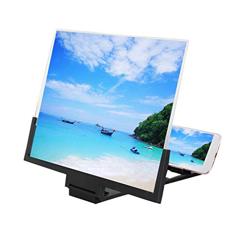 Tragbarer 3D HD Universal Bildschirmlupe,14 Zoll Desktop Telefon Bildschirm Verstärker Videoverstärker für iPhone Samsung Huawei und andere Smartphones (Schwarz)