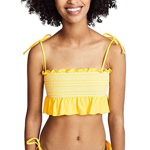 Lisa Marie Fernandez Womens Selena Smocked Bikini Top Lemon 3