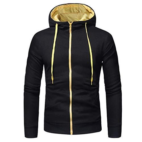 À Long Manteau De Veste Tops Sweat-Shirt Hoodies De Manches pour Hommes Hommes à Capuche Porter à Capuche Gris Foncé M (Color : Schwarz 2, Size : Eu-44/Cn-3Xl)