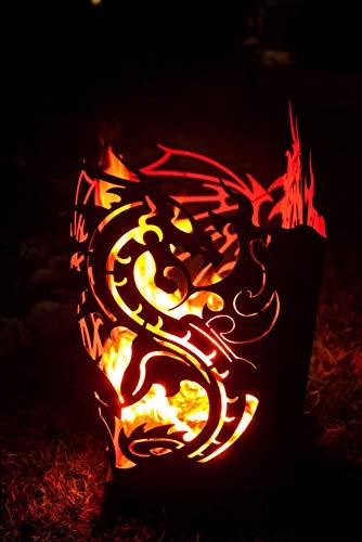 Ferrum Feuerkorb Drache viereckig Feuerstelle Feuerdrache Lagerfeuer Flammenkorb Edelrost Deko