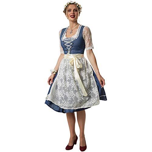 dressforfun 900585 Midi-Dirndl, Kurzes Dirndl in traditionell gehaltenem Stil, mit aufgenähter Blumenkette - Diverse Größen - (L| Nr. 302907)