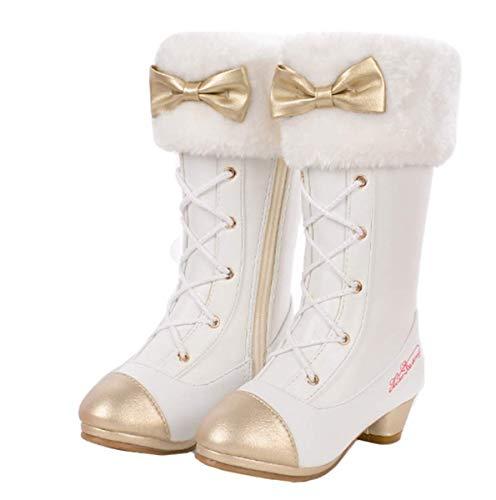 YOGLY Meisjes Prinses Snowboots Kinderen Sneeuwschoenen Winterlaarzen met warme voering Rubberen laarzen voor buitengebruik Bevroren antisliplaarzen