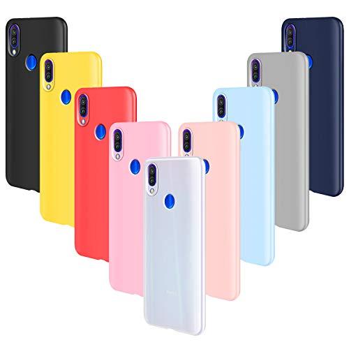 ivencase 9 × Funda Xiaomi Redmi Note 7/Redmi Note 7 Pro, Carcasa Fina TPU Flexible Cover para Xiaomi Redmi Note 7 (Rosa Gris Rosa Claro Amarillo Rojo Azul Oscuro Translúcido Negro Azul Claro)
