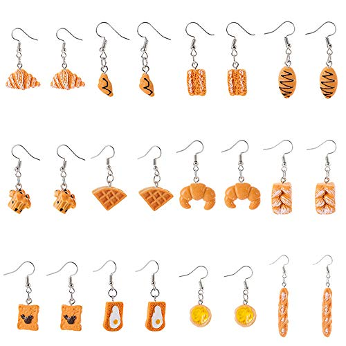 4-12 Pairs Handmade Resin Simulation food Croissant French Bread Toast Dangle Drop Earrings Cute Unique Donut Sandwich Pizza Hamburger Earrings Set for Women Girls Jewelry-C 12pairs