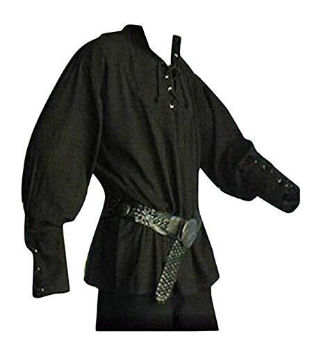prettycos Uomo Camicetta Medioevo Camicia Medievale da Uomini Pirata Vintage Vittoriano Costume,Nero,XXXL