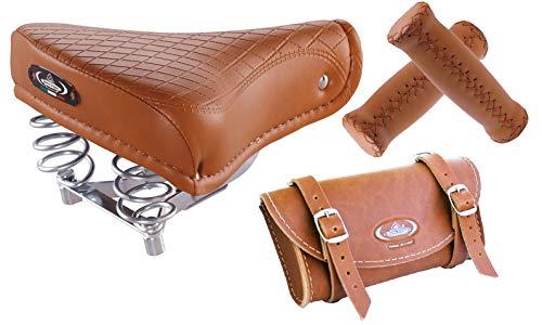 Tris Montegrappa (Miele): Sillín Vintage 1750 Export + Bolsa 0016 + Puños