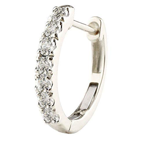 [アトラス] Atrus ピアス メンズ 片耳 10金 ホワイトゴールドk10 天然ダイヤモンド フープピアス 中折れ式 4月誕生石 天然石