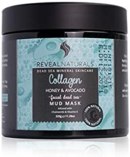 Reveal Naturals Collagen Dead Sea Face Mask With Dead Sea Salt, Avocado, And Honey. Facial Cleanser, Face Moisturizer And Blackhead Extractor. Best for Acne Treatment Mens and Women.