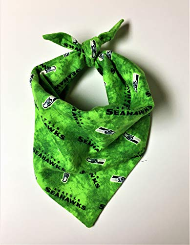 Seahawks Dog Bandana, Handmade in USA, Cotton Tie-On Pet Scarf by City Dogs