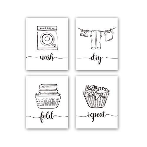 HPNIUB 4er Set Waschküche Poster,Wanddeko für Waschküche,Schwarz und Weiß Poster,Moderne Poster Set,La&ry Room Wäscheschilder für die Waschküche Zitate,zum Aufhängen Leinwand Bild,ohne Rahmen,20×25cm