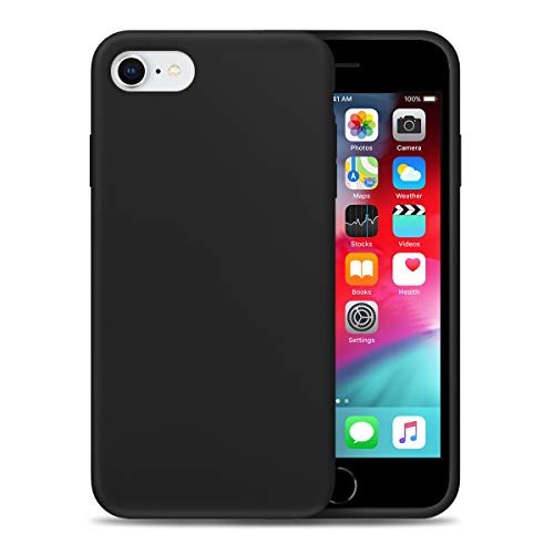 Liquid Silicone Phone Case for Apple iPhone 6/6S Full Body Protection/Shockproof/Gel Rubber/Cover Case Drop Protection Black