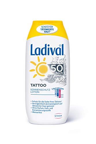 LADIVAL Tattoo Lotion LSF 50, Schützende Sonnenmilch für tätowierte Haut, ohne PEG Emulgatoren, silikon- und mineralölfrei, 200 ml