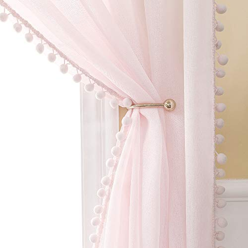 MIULEE 2 PCs Linen Textured Pink Window Sheer Curtains 84 Inches with Pom Pom for Bedroom Living Room Semi Transparent Kids Voile Panels for Light Filtering W 54 x L 84 Baby Pink